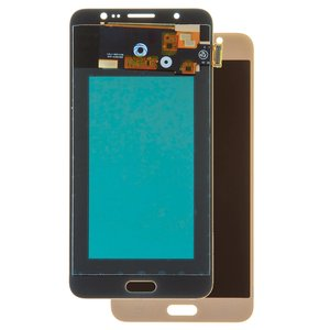 LCD compatible with Samsung J710 Galaxy J7 (2016), (golden, with touchscreen, with light adjustable, (TFT), Copy)
