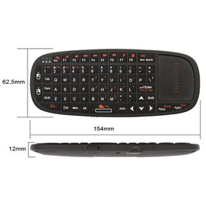 Wireless Ultra Mini Keyboard with Touchpad and Pointer (Black)