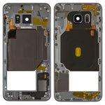 Parte media de carcasa puede usarse con Samsung G928 Galaxy S6 EDGE Plus, negra