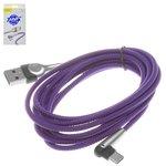 Cable USB Baseus, USB tipo-A, USB tipo C, 200 cm, azul, para cargar el teléfono, en forma de L, con revestimiento de nylon, con indicador, 2 A, #CATMVP-E03